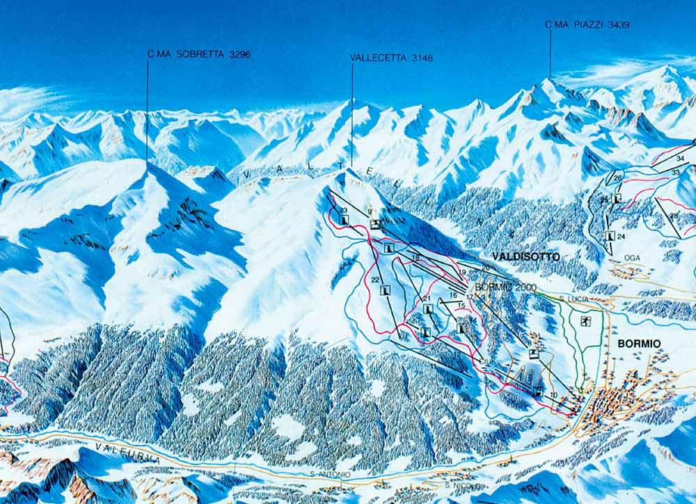 Схема горнолыжных трасс Бормио